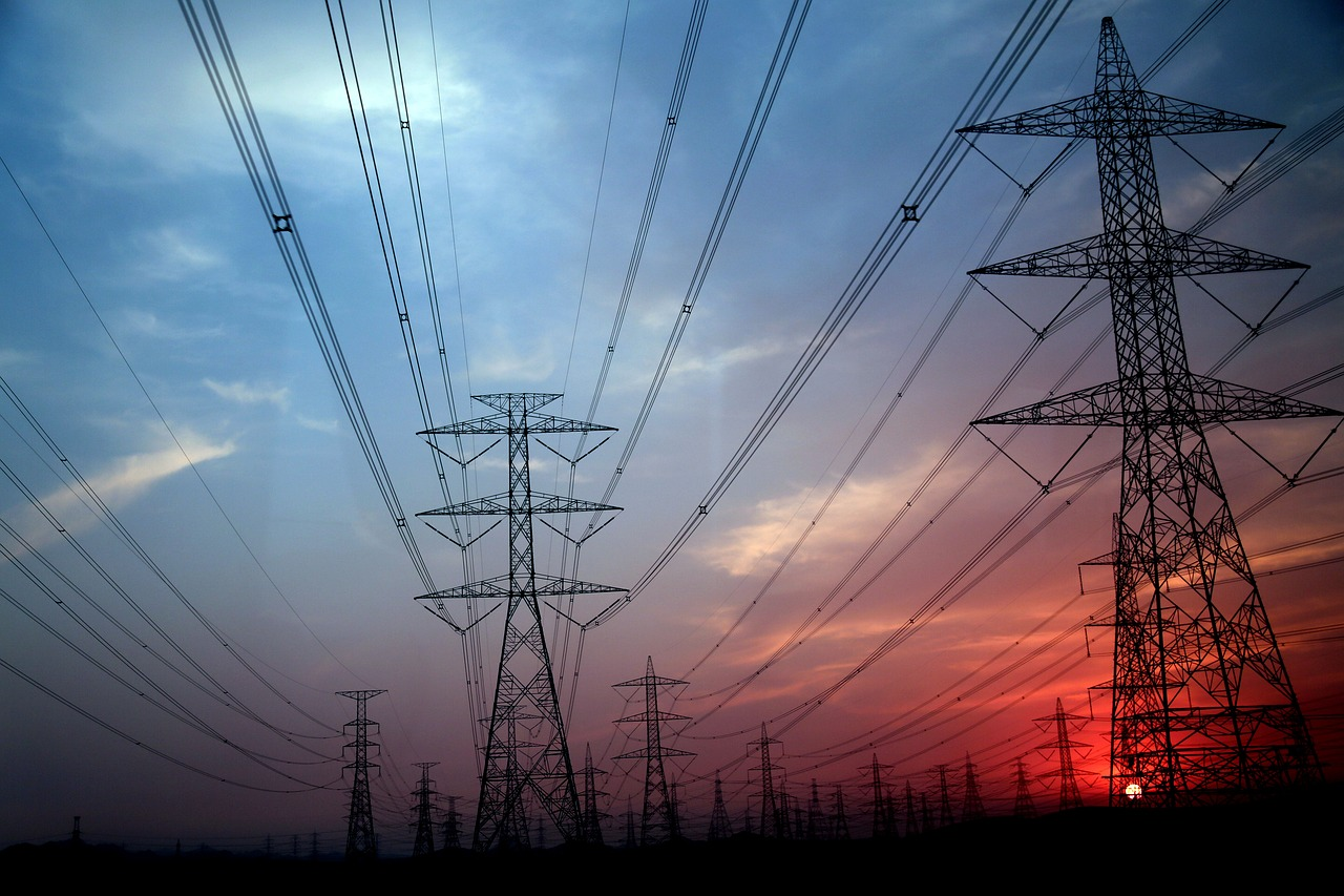 electricity pylon, electrical grid, communications tower